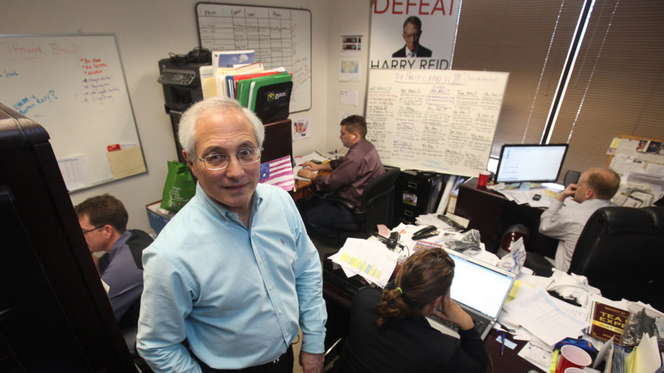 """Sal Russo, Tea Party Express founder, in his Sacramento, Calif., """"war room"""" in March."""