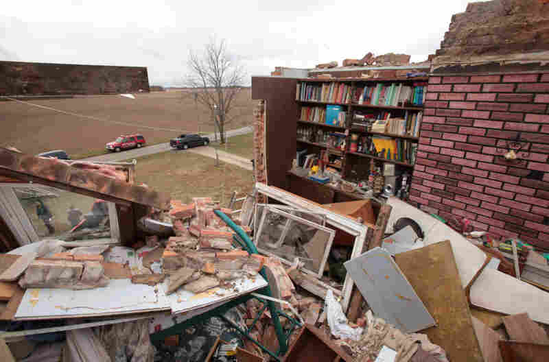 Damage to a house from a suspected tornado