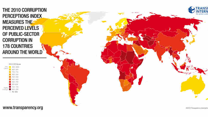 map of most corrupt countries