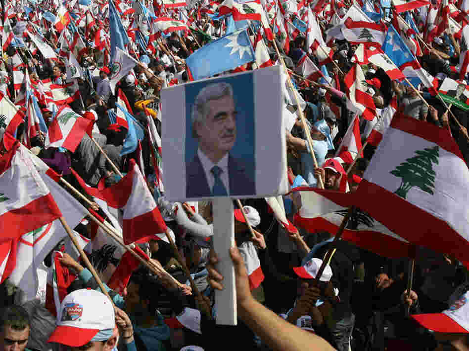 Lebanese wave their national flags
