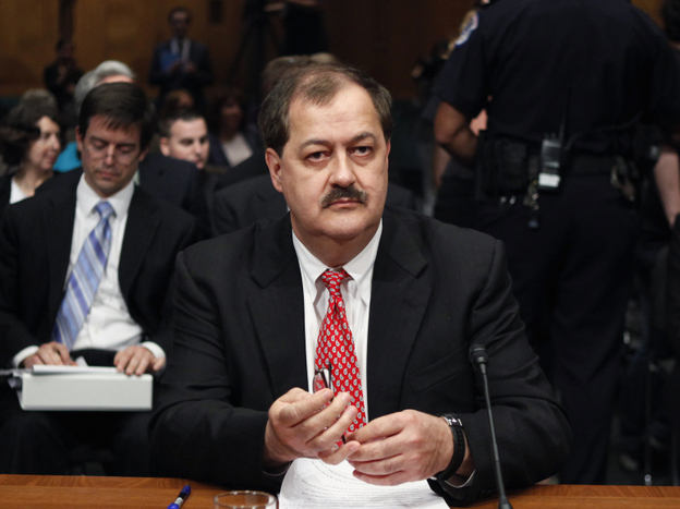 Massey Energy Company Chief Executive Officer Don Blankenship visits Capitol Hill to answer questions before the Senate Health and Human Services subcommittee hearing on mine safety, May 20, 2010. (AP)