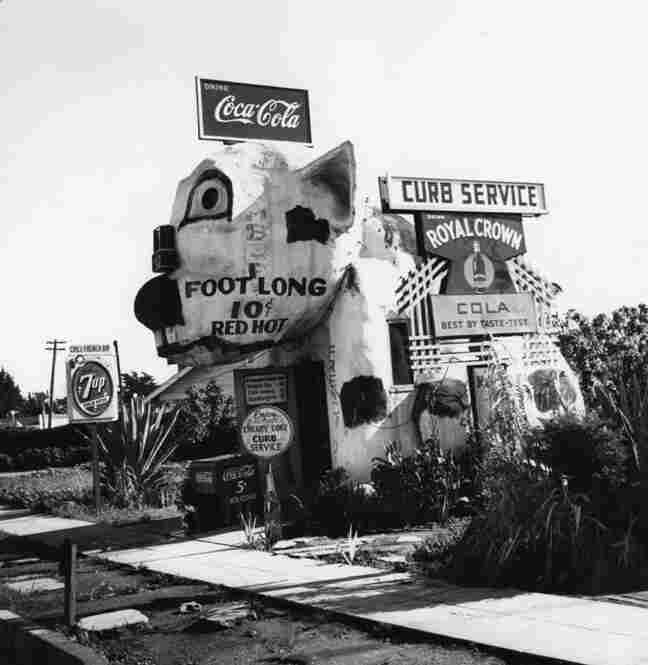 """An exterior view of the """"The Pup,"""" a hot dog and hamburger stand located in the community of Venice."""