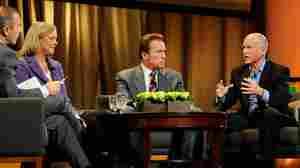 California gubernatorial candidates Jerry Brown and Meg Whitman debate.