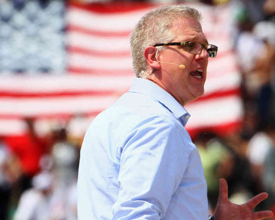 "Broadcaster Glenn Beck at his ""Restoring Honor"" rally in Washington on Aug. 28, 2010."