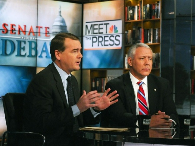 Democratic Sen. Michael Bennet of Colorado (left) and Republican challenger Ken Buck appear on NBC News' <em>Meet the Press</em>, on Oct. 17.