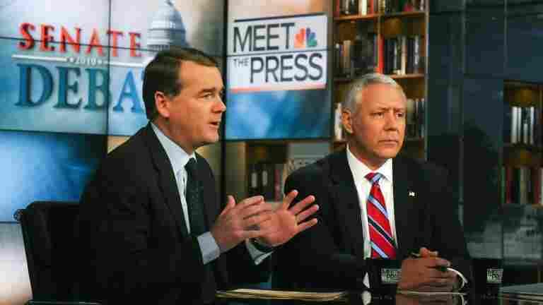 Sen. Michael Bennet, D-CO, left, and GOP challenger Ken Buck. Oct. 17, 2010.