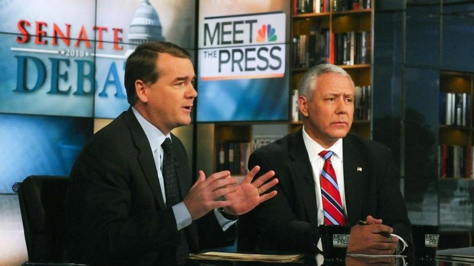 Democratic Sen. Michael Bennet of Colorado (left) and Republican challenger Ken Buck appear on NBC News' <em>Meet the Press</em>, on Oct. 17.