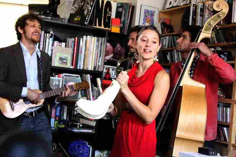 David Wax (guitar/jarana) and Suz Slezak (fiddle/donkey jawbone) perform with their band, David Max museum on October 12th.