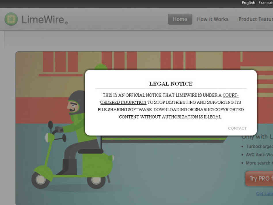 LimeWire's legal notice