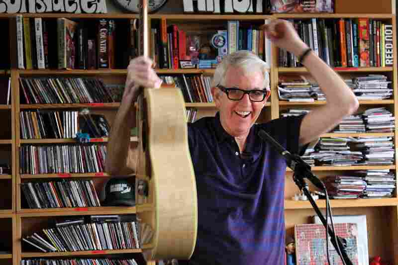 Nick Lowe swings off his guitar after he finished his last song on October 19th.