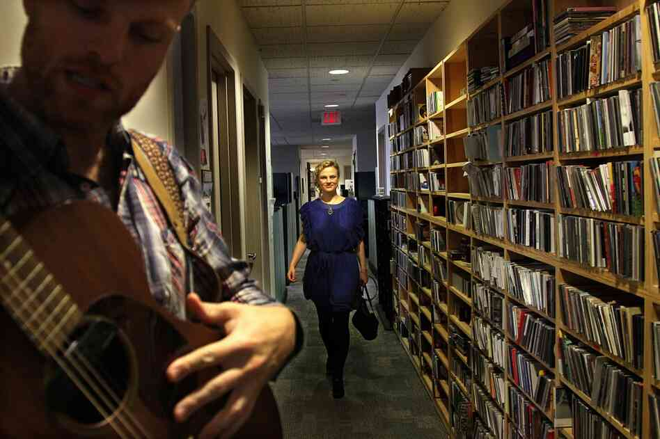 "Olof Arnalds walks toward the ""skinny end of the 5th floor"" where she performs a Tiny Desk Concert with David Jonsson on October 20th."