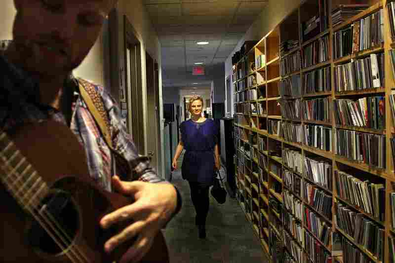 """Olof Arnalds walks toward the """"skinny end of the 5th floor"""" where she performs a Tiny Desk Concert with David Jonsson on October 20th."""