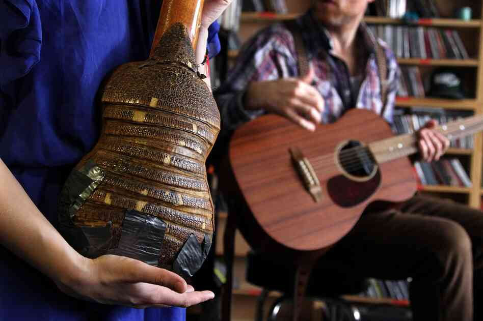Olof Arnalds shows off the backside of her charango, a stringed instrument made from the back of an armadillo on October 20th.