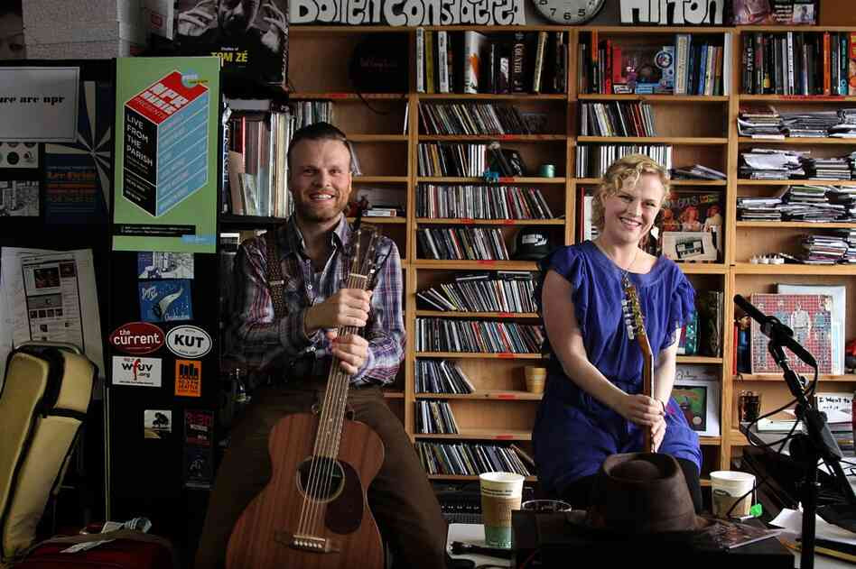 David Jonsson and Olof Arnalds after they finished performing a Tiny Desk Concert on October 20th.