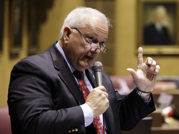 "Arizona  state Sen. Russell Pearce speaks in April during a vote on SB 1070, the  immigration bill he sponsored. The final version resembled ""model legislation""  he helped draft during an ALEC conference in Washington, D.C., last  year."