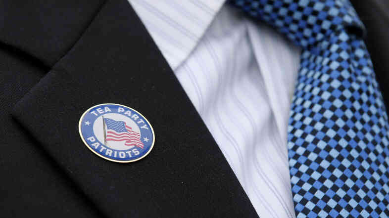 Mark Meckler wears a Tea Party pin.