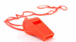 A bright red whistle.