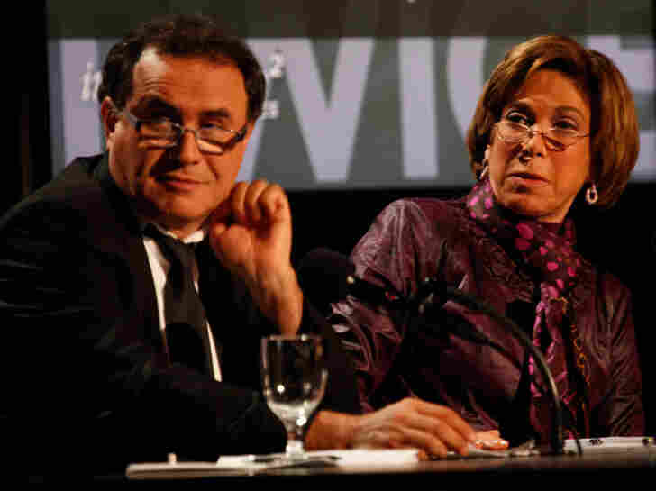 Nouriel Roubini (left) and Laura Tyson