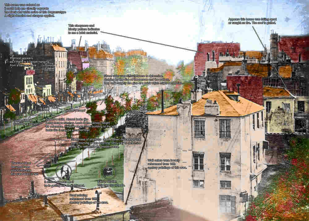Boulevard du Temple by Daguerre with Notes