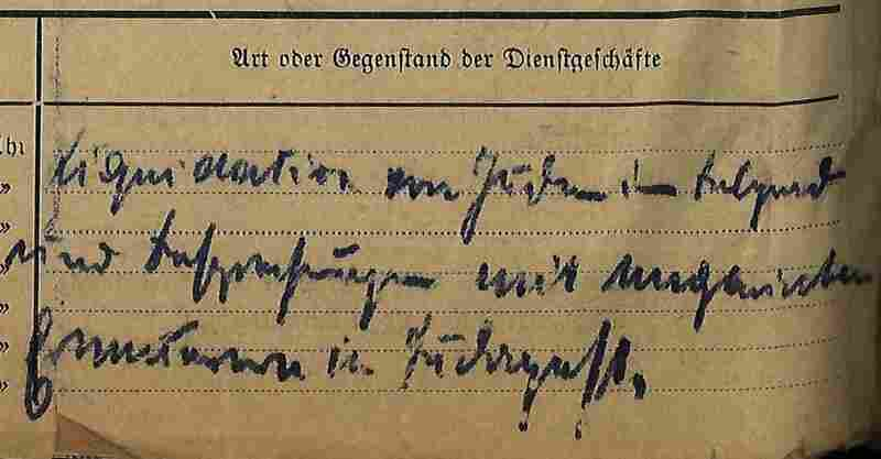 An excerpt from the travel expenses of Franz Rademacher.