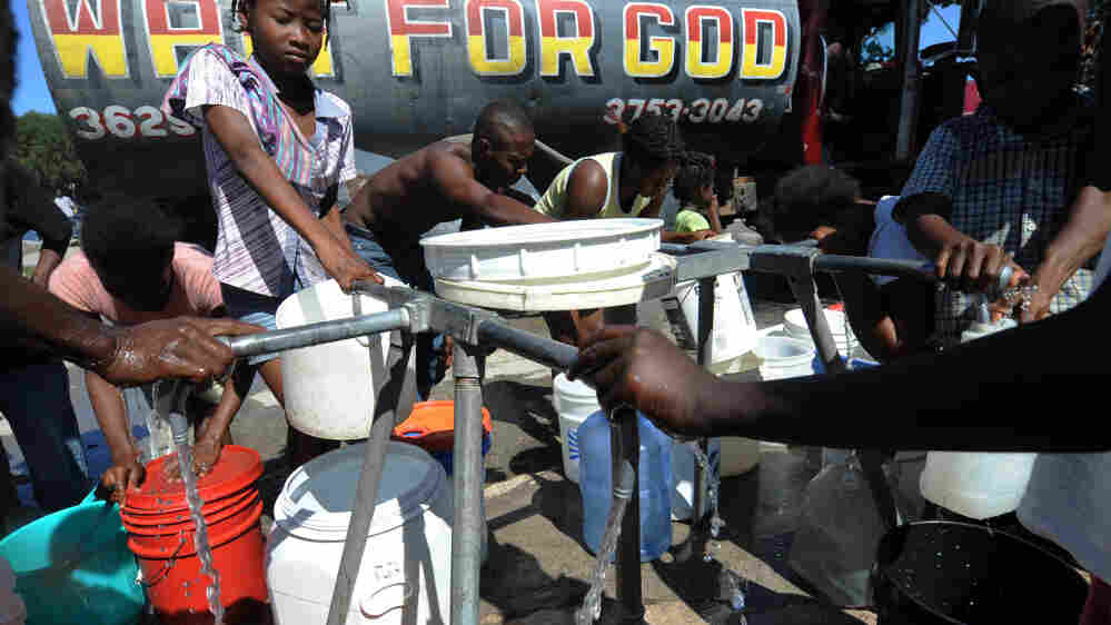 People distribute potable water