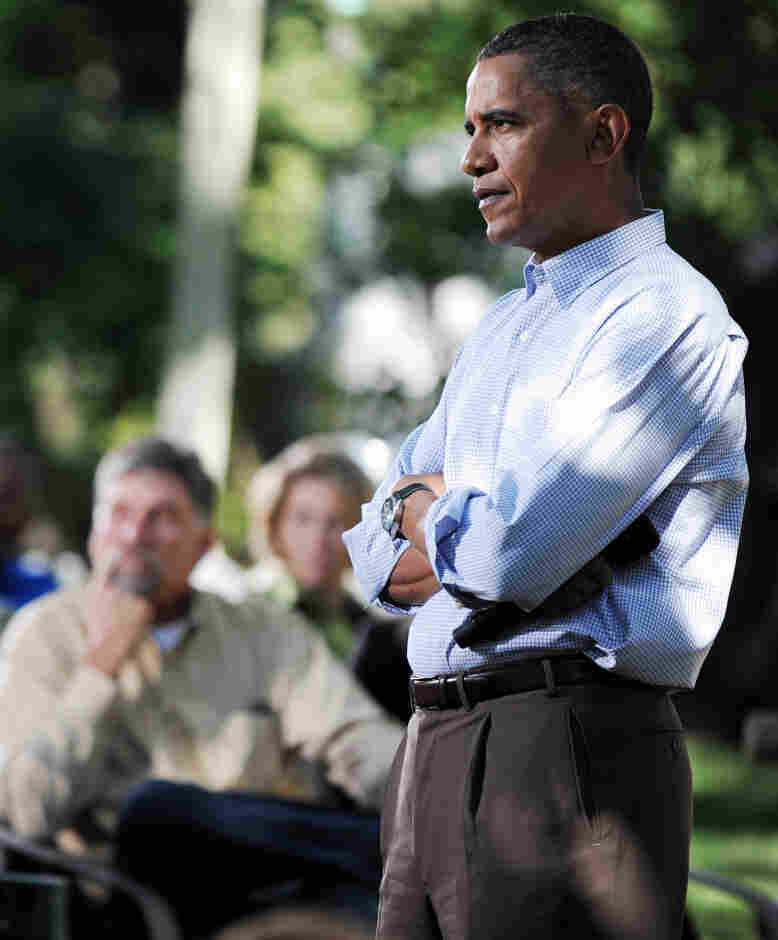 President Obama during a backyard chat in Des Moines on Sept. 29, 2010.