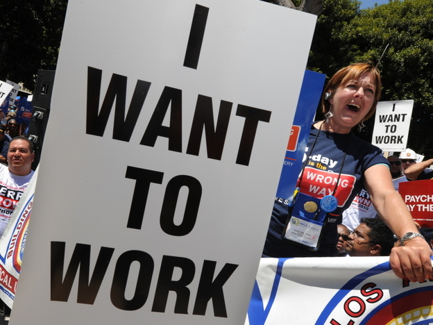 Many Americans are frustrated by stubbornly high unemployment, including these protesters outside City Hall in Los Angeles on Aug. 13.