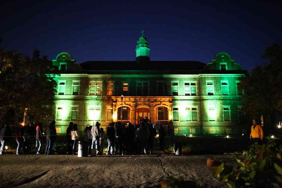 The former administrative building at the Pennhurst State School and Hospital is now the main location for the Pennhurst Asylum, a Halloween haunted event in Spring City, Pa. Entry fees are $25 for a normal ticket, and $50 for a VIP ticket that takes you to the front of the line.