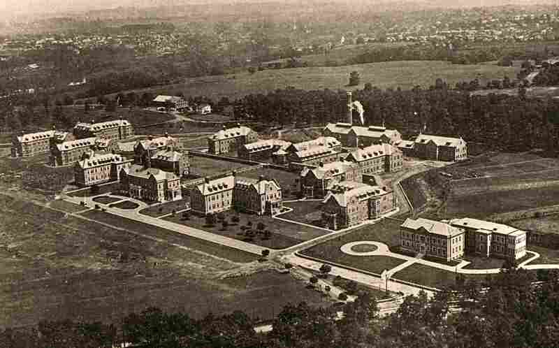 The Pennhurst campus, shown in a photograph from 1922, is located about one hour northeast of Philadelphia. The first six buildings were completed between 1908 and 1909.