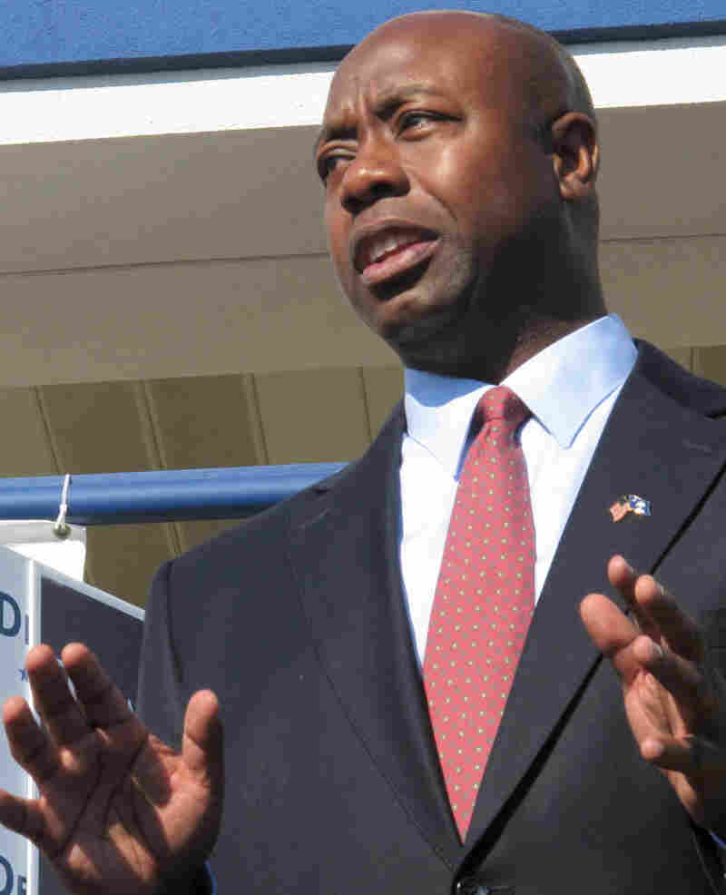 Tim Scott speaks to a crownd during a campaign event in North Charleston, S.C.