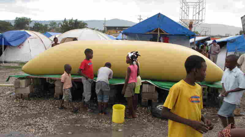 A fresh water bladder at a camp in Port-au-Prince Haiti
