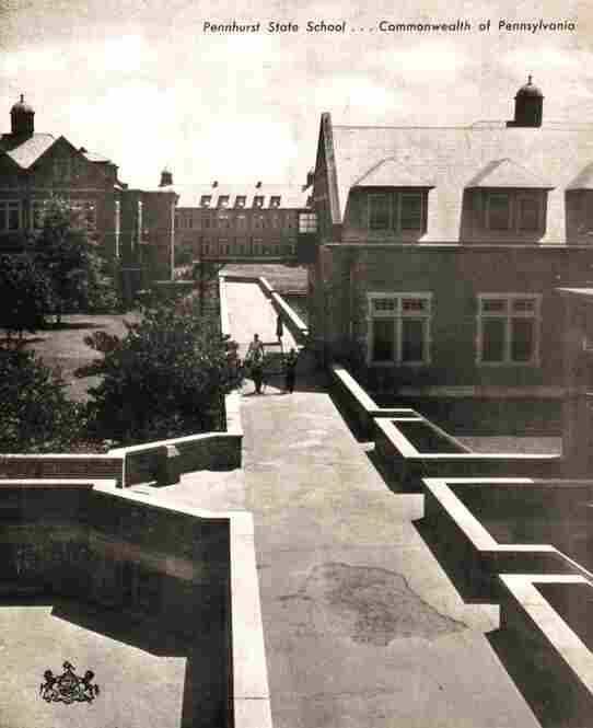The buildings on Pennhurst's campus are connected by exterior pedestrian ramps, as shown in this photograph from the 1940s.