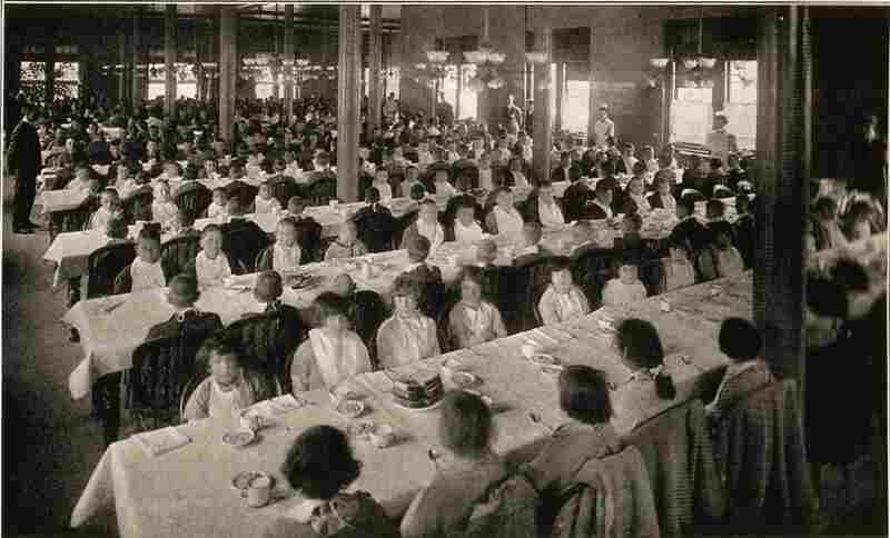 "Patients are seated in a campus dining room in a photograph from 1915. Pennhurst was originally known as the ""Eastern Pennsylvania Institution for the Feeble Minded and Epileptic."""