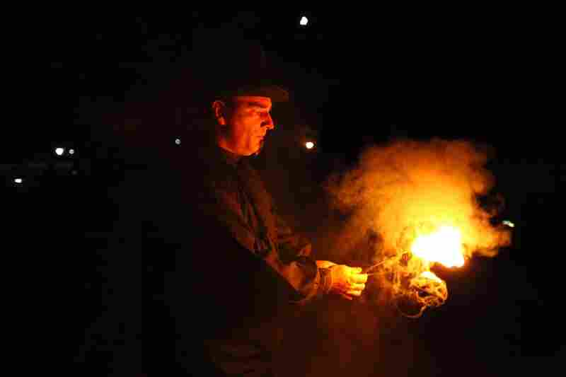 Jim Cope is an entertainer who works the crowd lining up to visit the Pennhurst Asylum. Lines to get into the haunted house can be up to four hours, so actors and entertainers line the catwalk leading to the entrance to keep visitors entertained.