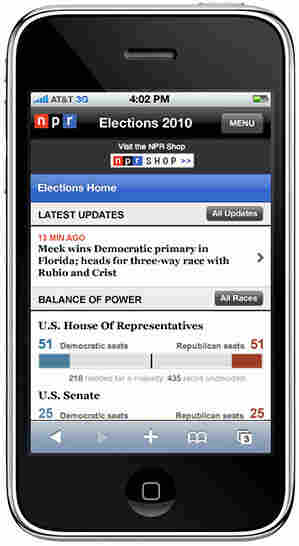 Design of the NPR.org mobile device Elections 2010 report.