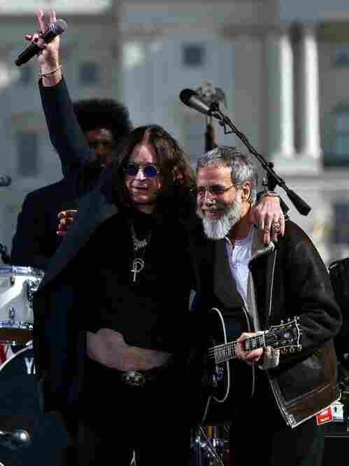 Musicians Ozzy Osborne and Yusuf Islam, formerly known as Cat Stevens, perform an unlikely mashup about trains.