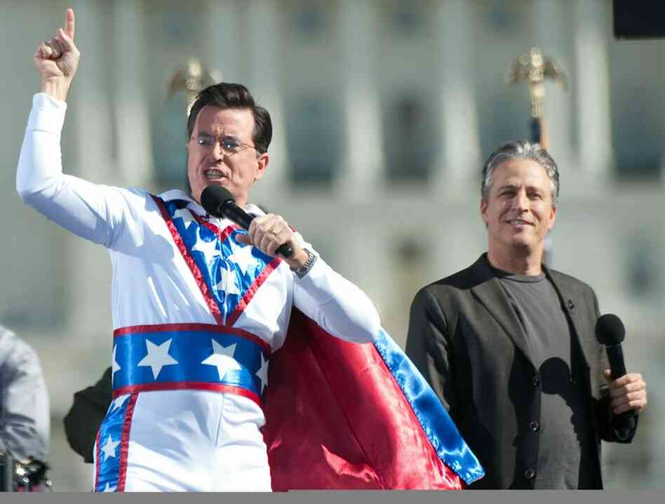 Comedy Central's Jon Stewart and Stephen Colbert address the thousands that gathered.