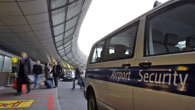 Security is in evidence at Duesseldorf International Airport in Germany on Saturday.