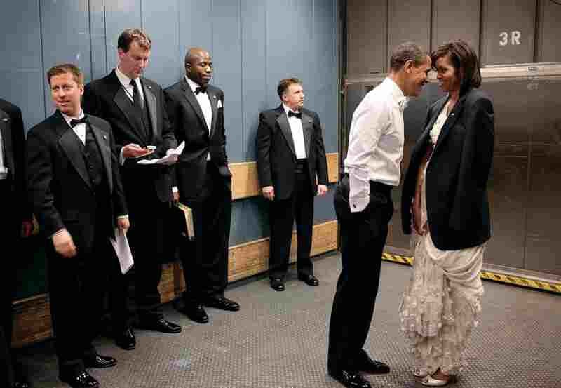Considered by many to be one of his iconic images so far, Pete Souza captured an intimate moment between President Obama and the First Lady on a freight elevator in Washington's convention center, on Inaugural night, 2009.