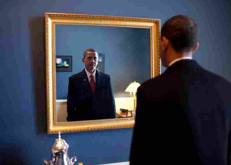 President-elect Barack Obama just prior to taking the oath of office.