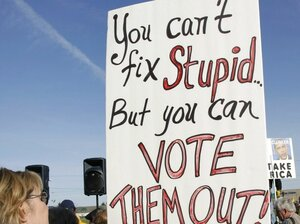 Waterford, Mich., Oct. 29: A sign at a Tea Party Express rally.