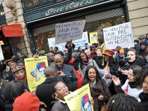 A demonstration in Paris protesting the perfume maker Jean-Paul Guerlain.