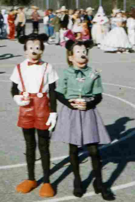 """I'm sorry it's so blurry, but it's old! I'm on the left. Halloween, approximately 50 years ago. My BFF, Anne, was Minnie."""