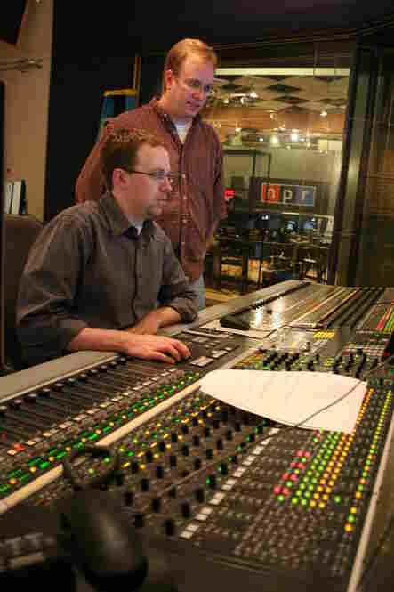 Studio 4A Engineers: Chris Nelson (seated) and Neil Tevault check the sound board controls.