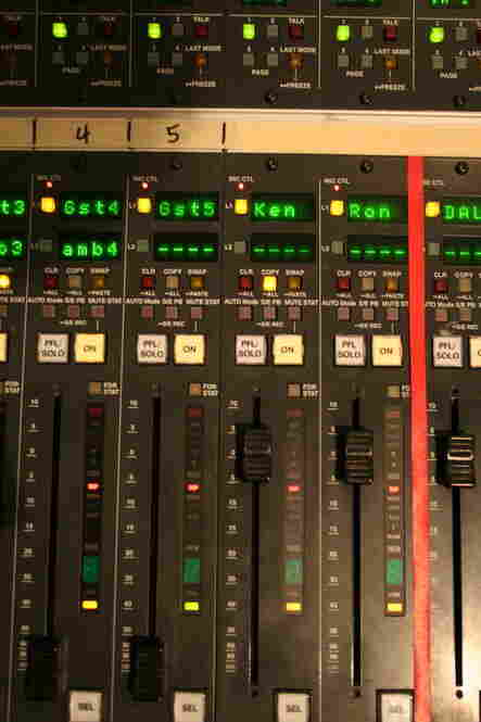 Close-Up of Sound Board: Note the 'Ken' and 'Ron' controls - those are for Ken Rudin and Ron Elving.