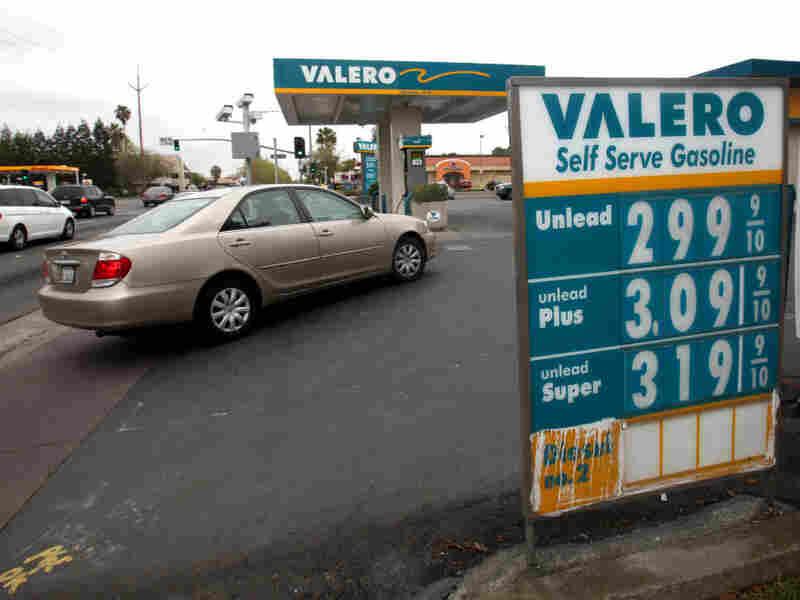 A car pulls into a Valero gas station in Sacramento, Calif.