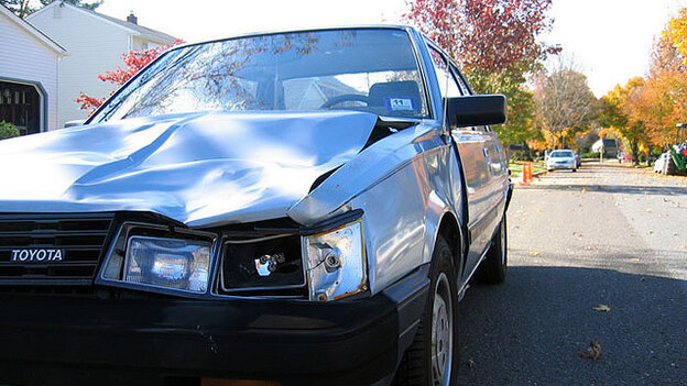 A collision with a deer damage this Toyota.