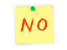 "A post-it note that says ""NO"""