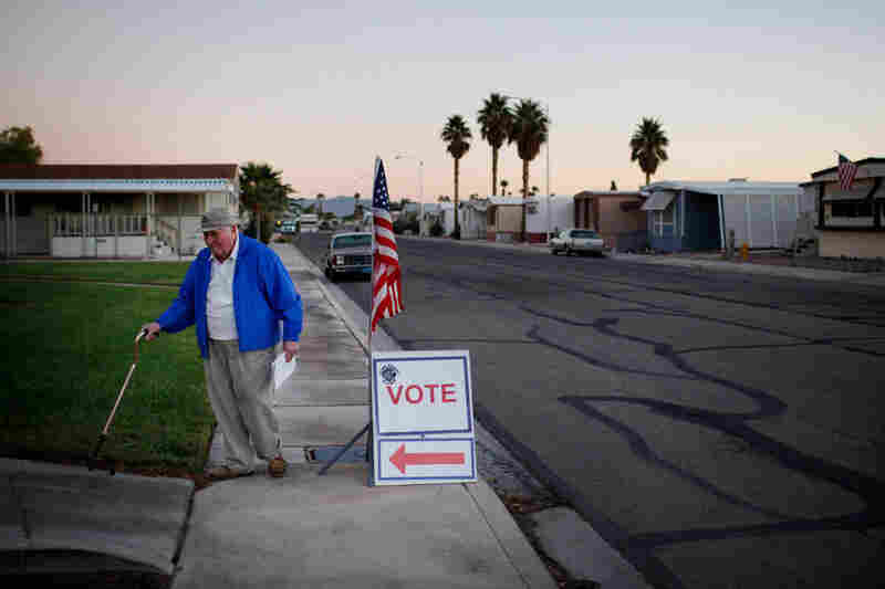 Bob Falkener, 86, arrives at a polling station in Las Vegas on Nov. 2. Republicans won the majority in the House of Representatives and made large gains in the Senate.