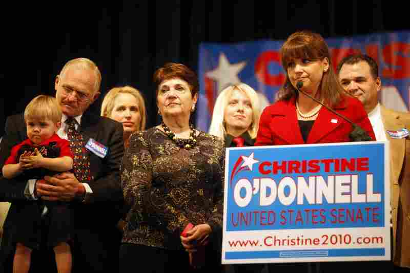 Republican Senate candidate Christine O'Donnell, surrounded by family, concedes defeat to Democrat Chris Coons in Delaware. Coons will take over Vice President Joe Biden's former Senate seat.